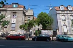 在Dobracina街道上的老房子在贝尔格莱德 免版税库存照片