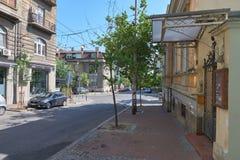 在Dobracina街道上的老房子在贝尔格莱德 免版税图库摄影
