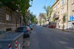 在Dobracina街道上的老房子在贝尔格莱德 免版税库存图片