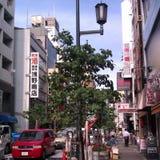 在Dotonbori附近的街道视图在大阪 免版税图库摄影