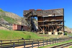 在Drumheller,亚伯大附近的地图集煤矿全国古迹 免版税库存照片