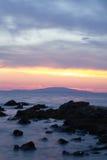 在Dudici,海岛Pag,克罗地亚的日落 免版税库存图片