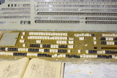 在Duga雷达, Chernobyl2,禁区,乌克兰的控制板 免版税库存图片