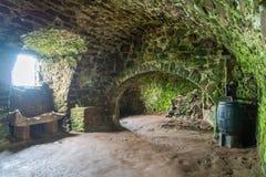 在Dunnottar城堡的内部视域,在Stonehaven附近,苏格兰 免版税库存图片