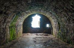 在Dunnottar城堡的内部视域,在Stonehaven附近,苏格兰 库存图片
