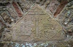 在Dunnottar城堡的细节,在Stonehaven附近,苏格兰 库存照片
