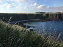 在Dunnottar城堡的苏格兰海岸线 免版税库存图片