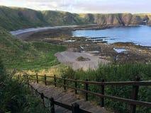 在Dunnottar城堡, Stonehaven,苏格兰的苏格兰海岸线 免版税库存照片