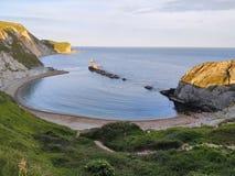 在Durdle门附近的侏罗纪海岸在多西特在英国 免版税库存照片