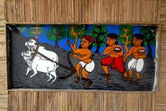 在Durga节日期间的印第安艺术 免版税图库摄影