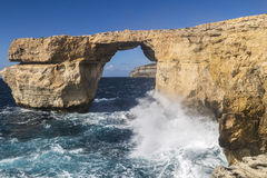 在Dweja的天蓝色的窗口戈佐岛的,马耳他 库存照片