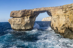在Dweja的石曲拱戈佐岛的,马耳他 库存照片