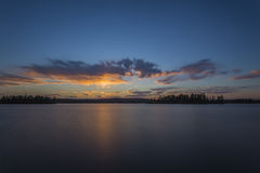 在Eagle湖的日落 图库摄影