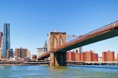 在East河的布鲁克林大桥 免版税库存图片