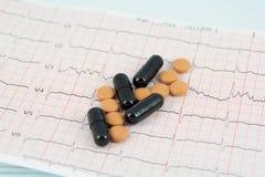 在ECG的药片 库存照片