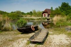 在ecomusee的小船在阿尔萨斯 库存照片
