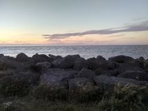 在Ediz勾子的日落在安吉利斯港 库存照片