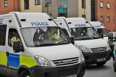 在EDL集会的警察小客车 免版税库存图片