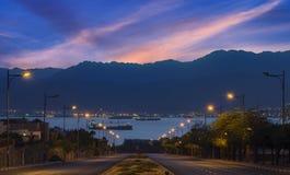 在Eilat和红海的早晨视图 库存图片