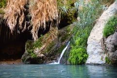 在Ein Gedi岩石的大卫洞在死海附近的 库存图片