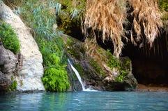 在Ein Gedi岩石的大卫洞在死海附近的 免版税库存照片