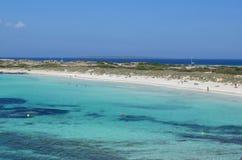 在eivissa附近的福门特拉岛 免版税库存图片