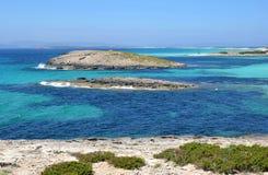 在eivissa附近的福门特拉岛 免版税库存照片