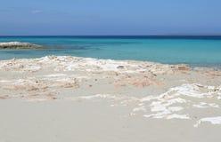 在eivissa附近的福门特拉岛 库存照片