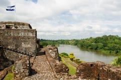 在El卡斯蒂略的被加强的城堡在尼加拉瓜 免版税库存照片