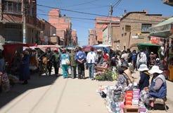 在El女低音,拉巴斯,玻利维亚的星期天市场 库存图片