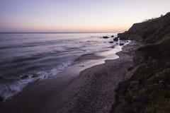 在El斗牛士国家海滩的马利布黄昏 图库摄影