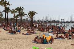 在El阿雷纳尔,马略卡的拥挤海滩 库存图片