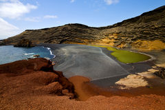 在el golfo兰萨罗特岛的水 免版税库存图片