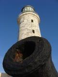 在El Morro堡垒,哈瓦那,古巴的灯塔和枪。 库存图片