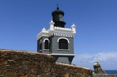 在El Morro的El法鲁灯塔在波多黎各 免版税库存照片