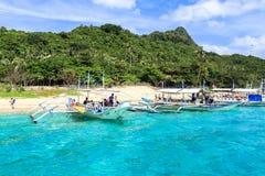 在El Nido,菲律宾海滩的小船  图库摄影