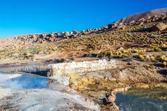 在El Tatio喷泉的风景 免版税库存图片