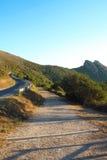 在Elba海岛的山路 免版税库存照片