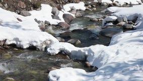 在Elbrus山充分的录影附近的河 股票录像