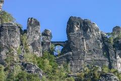 在Elbsandsteingebirge萨克森德国的Bastei 库存图片