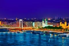 在Elisabeth桥梁和布达佩斯,桥梁连接的全景视图 免版税库存图片