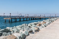 在Embarcadero公园的渔码头在圣地亚哥 免版税库存照片