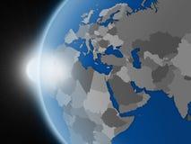 在EMEA区域的日落从空间 皇族释放例证