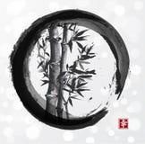 在enso禅宗圈子的竹树 库存照片