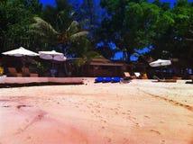 在Erakor海岛维拉港瓦努阿图上的热带海滩 库存照片