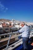 在Ermoupolis镇、锡罗斯岛或者锡罗斯岛或者Syra,希腊的锡罗斯岛口岸 图库摄影
