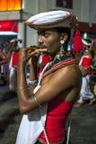 在Esala Perahera期间,长笛演员沿康提街道执行在斯里兰卡 库存照片