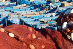 在essaouira口岸的被停泊的渔船 库存照片
