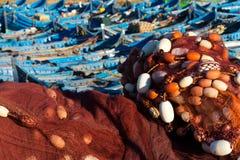 在essaouira口岸,摩洛哥的被停泊的渔船 库存照片