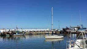 在Essaouria口岸,摩洛哥的帆船 免版税图库摄影